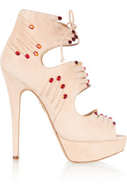 Charlotte Olympia Hands On embellished suede sandals