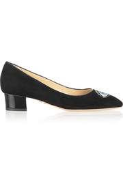 Charlotte Olympia Eyes For You embroidered suede pumps