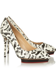 Charlotte Olympia Debbie printed leather pumps