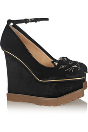 Charlotte Olympia Creeping Tessa embroidered velvet wedge pumps