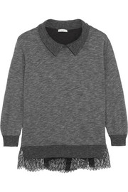 Lace-paneled jersey sweatshirt