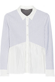 CLU Chiffon-paneled cotton Oxford shirt