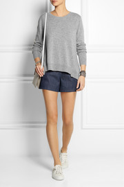 CLU Cotton and lace-paneled wool-blend sweater