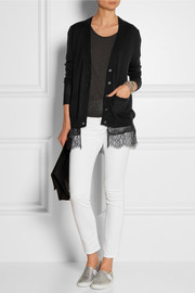 CLU Silk and lace-trimmed wool and cashmere-blend cardigan