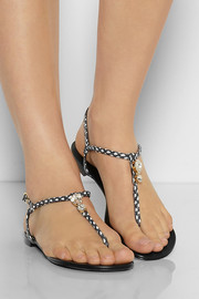 Giuseppe Zanotti Embellished printed snake-effect leather sandals