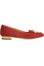 Charlotte Olympia Year of the Tiger suede slippers