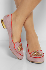 Charlotte Olympia Year of the Rabbit suede slippers