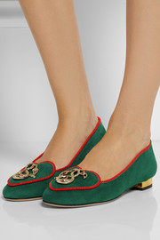 Charlotte Olympia Year of the Snake suede slippers