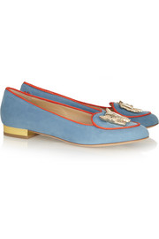 Charlotte Olympia Year of the Pig suede slippers