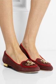 Charlotte Olympia Year of the Monkey suede slippers