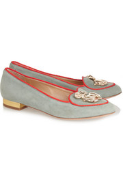 Charlotte Olympia Year of the Sheep suede slippers