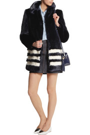 Shrimps Wilma striped faux fur coat