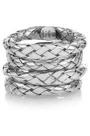Bottega Veneta Set of four intrecciato sterling silver rings