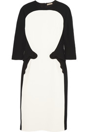 Bottega Veneta Two-tone wool-crepe dress