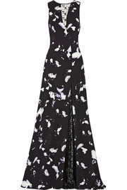 Thakoon Lace-paneled floral-print cady gown