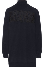 Thakoon Lace-paneled wool turtleneck sweater