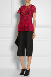 Thakoon Embroidered cotton-blend lace peplum top