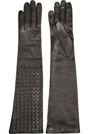 Intrecciato long leather gloves