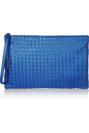 Bottega Veneta Metallic intrecciato textured-leather pouch