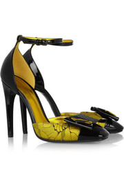 Bottega Veneta Bow-embellished silk-jacquard and patent-leather pumps