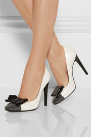 Bottega Veneta Bow-embellished color-block leather pumps