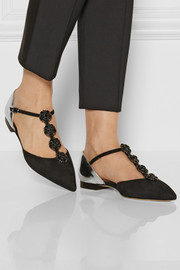 Oscar de la Renta Eve embellished suede and metallic leather point-toe flats