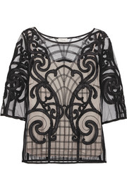 Temperley London Catroux embroidered tulle top