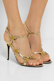 REDValentino Star embellished metallic leather sandals