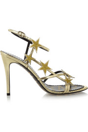 Star embellished metallic leather sandals