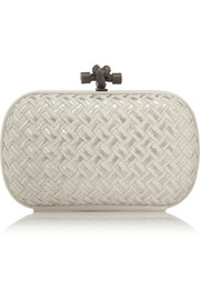 Bottega Veneta The Knot embroidered intrecciato leather clutch