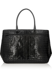 Glossed-watersnake and intrecciato leather tote