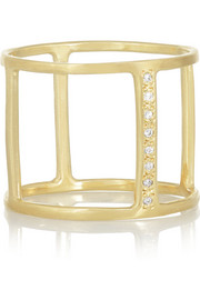 SCOSHA 10-karat gold diamond cage ring