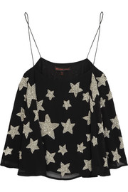 Kate Moss for Topshop Star-embellished crepe camisole