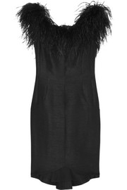 Kate Moss for Topshop Feather-trimmed slub dupion mini dress