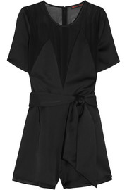 Kate Moss for Topshop Chiffon-paneled satin playsuit
