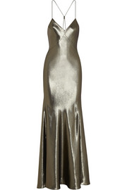 Kate Moss for Topshop Fluted silk-blend lamé maxi dress