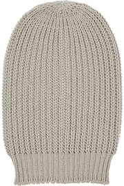 Oversized ribbed wool beanie