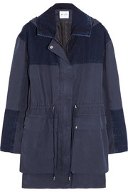 The Chevron denim-paneled cotton parka