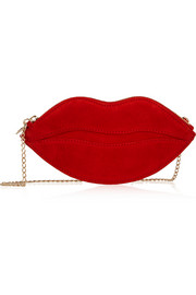 Charlotte Olympia Kiss Purse suede shoulder bag