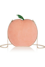What A Peach suede clutch