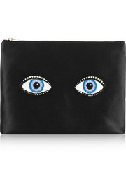 Charlotte Olympia Glance Alot embroidered satin pouch