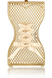 Tight Laced ribbon-embellished gold-tone clutch