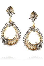 Erickson Beamon Stratosphere gold-plated, Swarovski crystal and faux pearl earrings