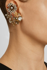 Erickson Beamon Night Shade gold-plated Swarovski crystal clip earrings