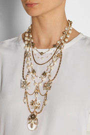 Erickson Beamon Ballroom Dancing gold-plated, faux pearl and Swarovski crystal necklace