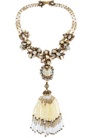 Erickson Beamon Weeping Angel gold-plated, bead and crystal tassel necklace