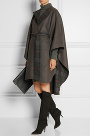 Tonpell reversible virgin wool and angora-blend cape