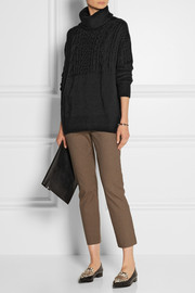 The Row Carrington cable-knit cashmere and silk-blend turtleneck sweater