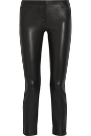 Landly cropped stretch-leather straight-leg pants