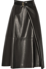The Row Ramnar leather midi skirt